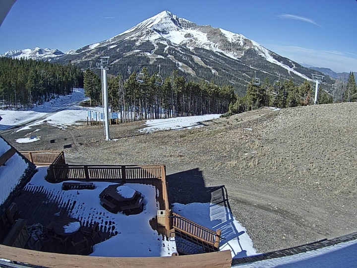 snow at Big Sky resort's 8800 foot level