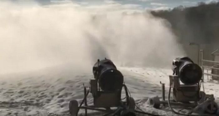 snowmaking at ski brule in michigan