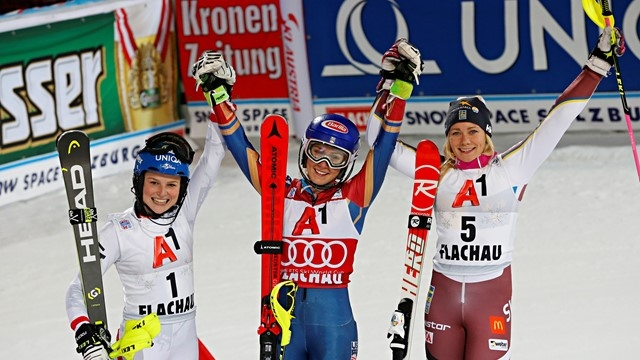 bernadette schild mikaela shiffrin and frida hansdotter in flachau night slalom