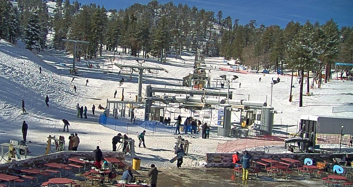 fresh snow at mountain high resort in southern california