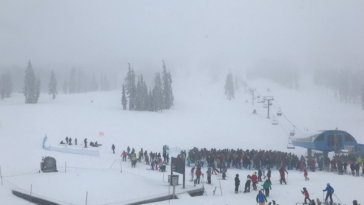 mount bachelor ski resort on a busy february weekend