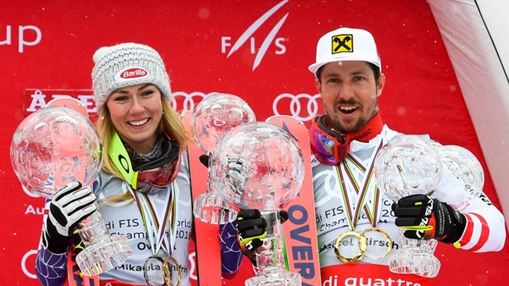 shiffrin and hirscher with their 2018 globes